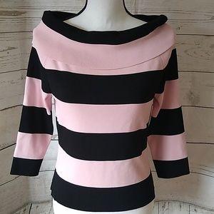 Venini pink & black striped blouse